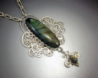 Ophelia's Tear Exquisite Sterling Silver and 10K Gold Labradorite Filigree Necklace