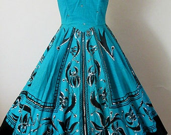 Muy Bonita! 1950's hand painted Mexican halter dress with silver sequins and full circle skirt Rockabilly Pinup girl vintage Mexican Size S