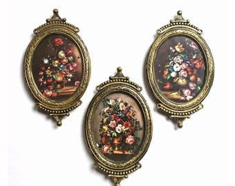 Small Metal Italian Frames with Floral Prints, Ornate Gold Italian Frame Set, Floral Prints in Frames Made in Italy, Mini Metal Frames