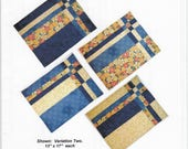 Take Four Place Mat Pattern - Fat Quarter Friendly Pattern - Easy Quilt Pattern - Stack and Shuffle Pattern - Placemats Pattern