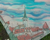 Tallinn Old Town red roofs hand painted silk square scarf. RESERVED for Sveta. Gift from Estonia