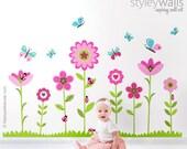 Flowers Wall Decal, Flowers Wall Sticker, Butterflies Wall Decal, Ladybugs Wall Decal, Garden Flowers Bugs Wall Decal, Nursery Wall Decor