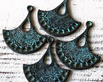 Mykonos Findings Beads - Green Patina Fan Earring Parts - 21x31mm - Jewelry Making Supply - Boho Jewelry Findings And Parts - Choose Amounts