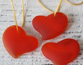 Sea Glass Heart Beads - Sea Glass Pendant - Beach Glass Pendant - Jewelry Making Supply - 18mm Orange - Choose Amount