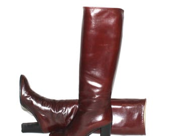 Vintage GUCCI Cordovan Smooth Leather Knee High Boots 38
