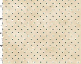 Small Aqua Dots on a Mottled Cream Background 100% Cotton Quilt Blender Fabric, Maywood Studio's Welcome Home Collection, MAS609-EQ