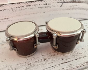 Mini Bongo Drums, Mini Drums, Accessory, Decor, Crafting, Shelf Sitter, Topper