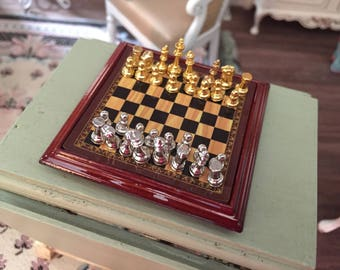Miniature Metal Chess Set, Gold and Silver Chess Set, Dollhouse Miniature, 1:12 Scale, Dollhouse Accessory, Decor, Crafts