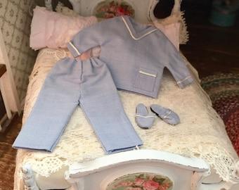Miniature Pajamas, Blue Men's PJs, 3 Piece Set, Dollhouse Miniature, 1:12 Scale, Miniature Accessory, Decor, Crafts