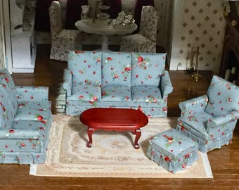 Miniature Living Room Set, Couch, Love Seat, Chair, Ottoman, Coffee Table, 5 PC Set, Dollhouse Miniature, 1:12 Scale, Dollhouse Furniture