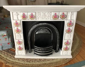 Miniature Fireplace, Rose Tile Fireplace by Ruetter, Dollhouse Miniature, 1:12 Scale, Dollhouse Miniature, Made in Germany