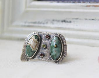 Oxidized Sterling Silver Ring with Ocean Jaspers, red Garnet and Peridot