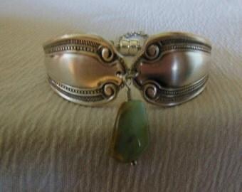 Antique Spoon Bracelet with Peruvian Blue Opal Gemstone Bead    7.5 inch
