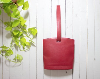 Vintage Leather Sling Purse / Red Leather Purse / Top Handle Purse / Structured Purse / Leather Shoulder Bag