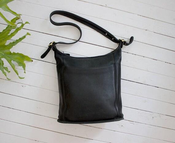 Vintage Coach Bag / Coach Bucket Bag / Black Leather Coach Purse / Slim Duffel Coach Bag / Coach Legacy Bag