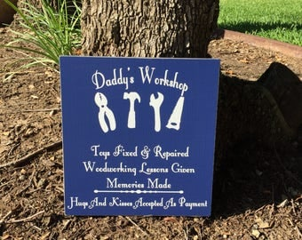 Garage Sign ~ Father's Day Gift For Dad ~ READY TO SHIP ~ Workshop Sign ~Man Cave Sign ~Dad's Tools ~Daddy's Workshop ~Tool Sign ~Daddy Gift