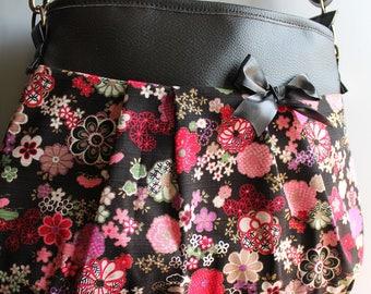 Crossbody hobo bag zipper closure - purple white - Elena
