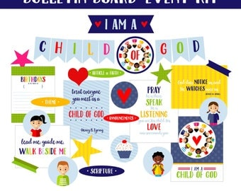 2018 LDS Primary Bulletin Board Printables-I Am A Child of God-Sharing Time-Primary DIY Decorative Elements-LDS-Mormon
