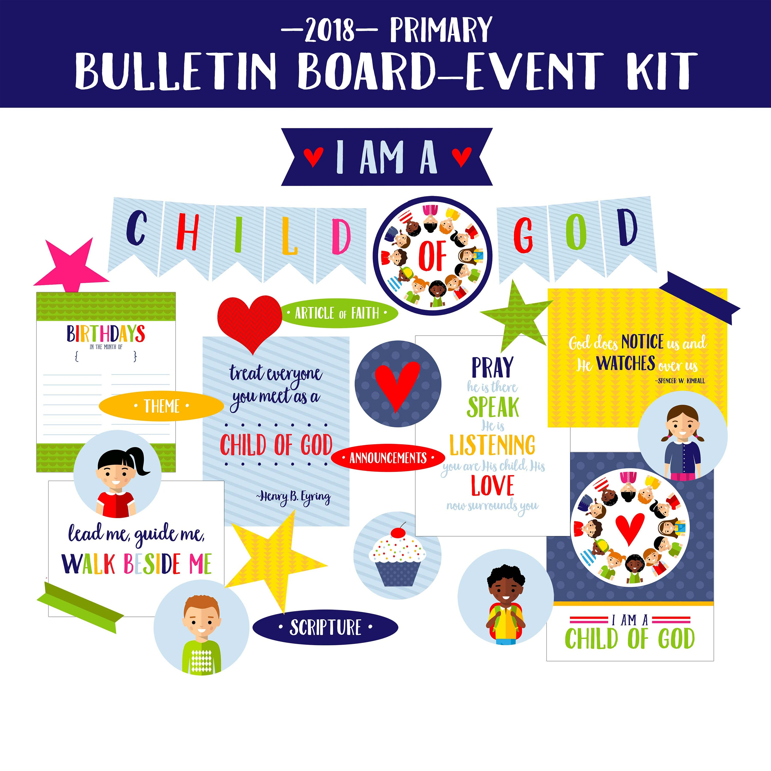 2018 lds primary bulletin board printables i am a child of