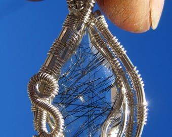Cosmic Light///Black Tourmalated Quartz, and Sterling Silver Wire Wrap Pendant, One of a Kind, Handmade, Art