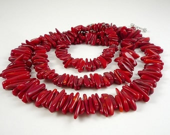 Red Coral Necklace Long Red Coral Necklace Bright Red Bamboo Coral Necklace Long Red Coral Strand Long Coral Necklace Chunky Coral Necklace