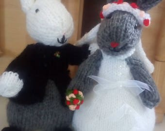 Knitted Bride and Groom Bunnies