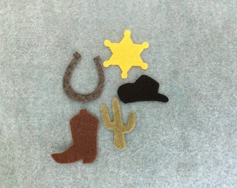 Rodeo Cowboy Felt Shapes-Western Parties Favors-Cowboy Decorations-Bible Journaling-Planner-Embellishments-Iron On Applique-Felt Shapes