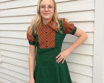 Mod Chevron Mini Dress Green Striped 70 Retro Vintage XS