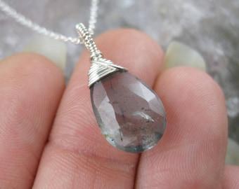 Moss Aquamarine Pendant - Silver Aquamarine Necklace - Solitaire Pendant Charm