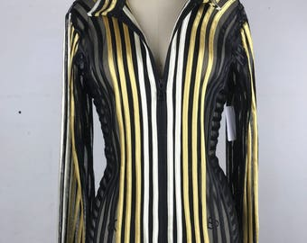 90s black and gold mesh striped zip up jacket medium WT26858