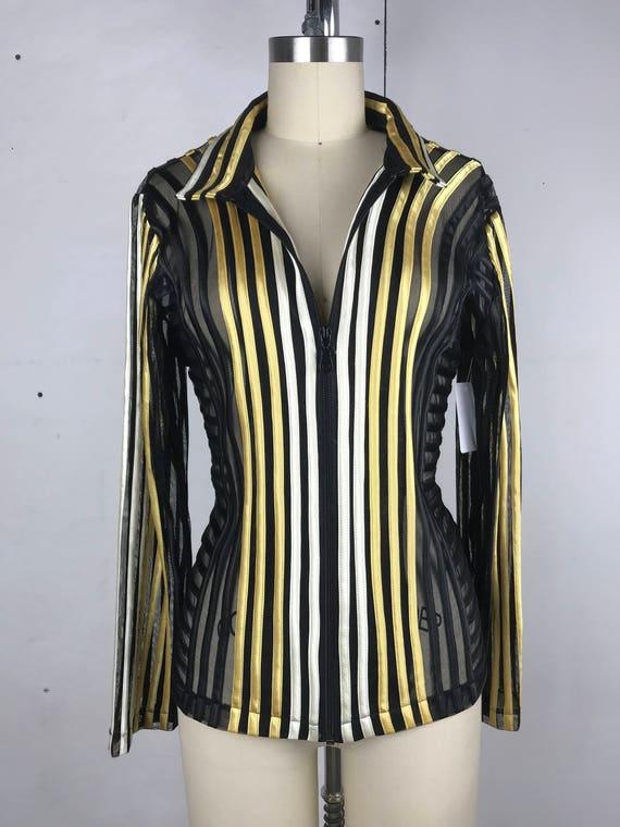 90s Mesh Striped Body Con Jacket
