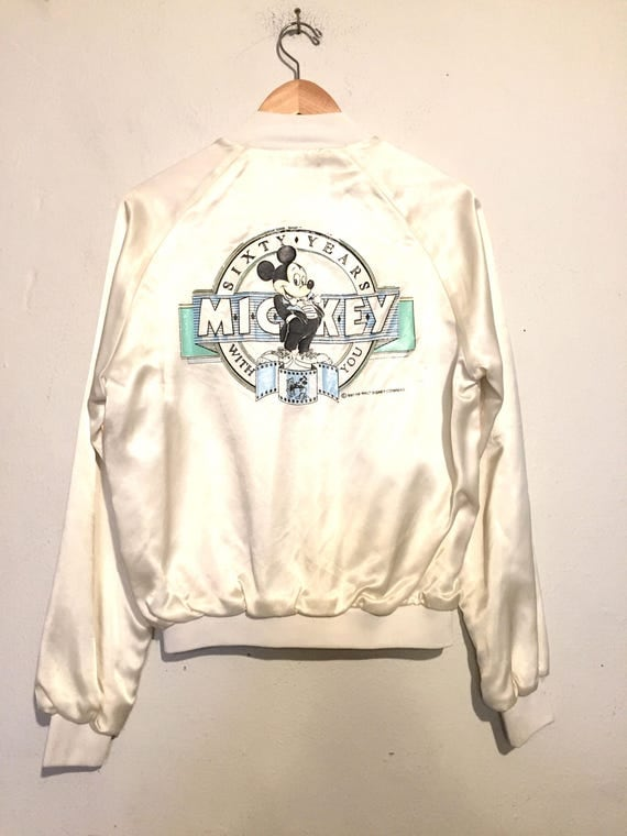 80s Vintage Satin Mickey Mouse Bomber Jacket