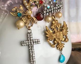 SOLD to HG - majestic jewels - vintage assemblage earrings rhinestone crown cross bird eagle gemstones pearl asymmetrical garnet turquoise