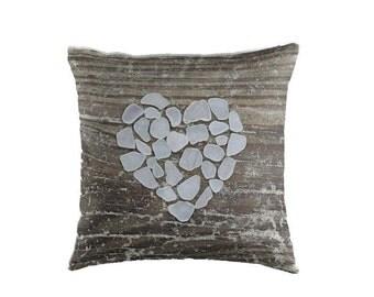 Beach Glass Heart Pillow Cover- Romantic Pillow, Coastal Art, Beach Decor, Photo Pillow Case, Seaglass Art, Rustic Beach House Decor, Brown