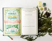 Inspiration rapide Journal, aquarelle citation Agenda, cadeau pour les femmes de moins de 20 ans, cadeau pour le meilleur ami, les filles guidées Journal cadeau de Noël,