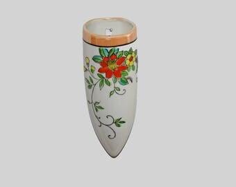 "Vintage Japan Wall Pocket Vase Lusterware and Hand Painted Flowers 6-1/2"" Tall"