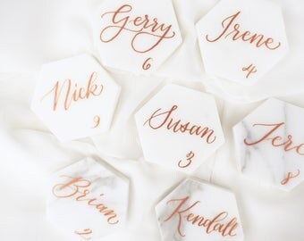 "Carrara Bianco Marble Hexagon Tile Place Cards - 2"" Escort Black Gold or Copper Ink Calligraphy"