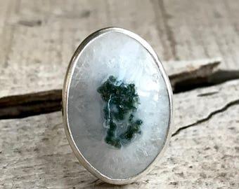 Stunning Large Oval White Crystal Solar Quartz Sterling Silver Statement Ring | Quartz Ring | Gifts for Her | Boho | Rocker | Healing Ring