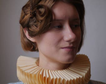 Elizabethan style neck ruff - with ribbon tie - choose cream or white