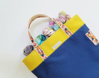 Blue Yellow Tote Bag, Knitting Tote, Canvas Tote, Large Project Bag, Knitting Bag, Crocheting Bag, Gifts for Knitters, gifts for her