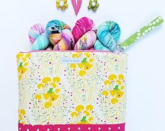 Medium Frog Floral Zippy Knitting Bag, Wristlet, Project Bag, Crocheting Bag, Gifts for Knitters, Sock Bag, Zipper Pouch