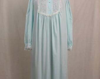 Vintage Soft Sea Blue Barbizon Nightgown Donnie Jen Feathaire ~ Medium ~ Lace Trim ~ Full Length