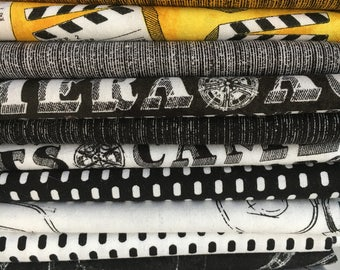 Lights Camera Action from Windham Fabrics - 13 Fat Quarters with movie motifs in yellow, black, and white