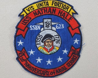 USS Nathan Hale Patch- U.S. Navy Patch- Submarine 20th Anniversary of Naval Service 1983- Vintage Military Patch Sew-on Embroidered Applique