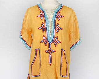 Short Sleeve Indian Top with Ornate Trim and Pockets