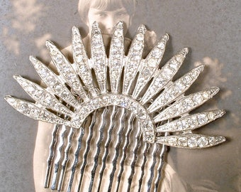 Authentic Art Deco Hair Comb, 1930s Vintage Rhinestone Fan Bridal Hair Accessory, Flapper Crystal Dress Clip Great Gatsby Wedding Headpiece