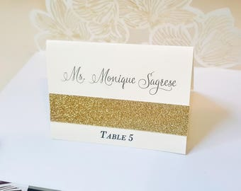 Glitter Gold Wedding Place Cards, Gold Glitter Place Cards, Seating Cards, Name Cards, Cream and Gold Glitter Placecards, FREE SHIPPING