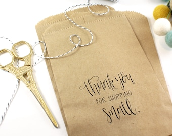 25 printed kraft bags - Thank you for shopping small -  handlettered design on 5 x 7 inch kraft brown bags - for Packaging & gift wrapping