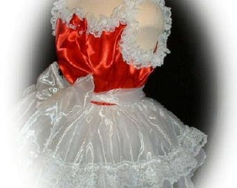 Adult Sissy Baby Doll Satin SLIP Dress w/ Organza Skirt & Lots of Lace F3WLW9M