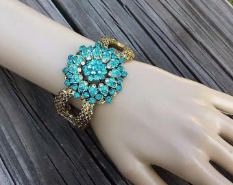 Blue, Clear, AB Rhinestones in Flower Designed Gold Tone Metal Textured Hinged Cuff Vintage Bracelet